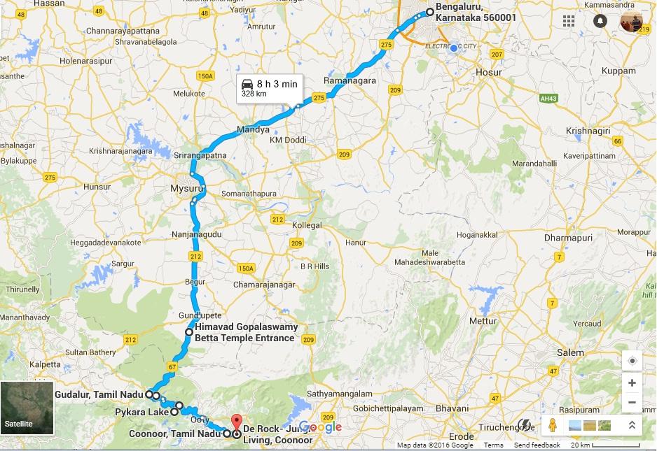 Road_Map2ootyCoonoor-Onward